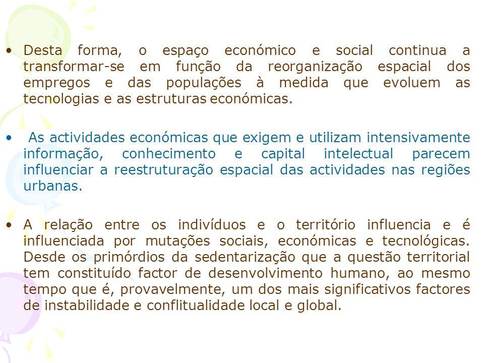 Desta forma, o espaço económico e social continua a transformar-se em função da reorganização espacial dos empregos e das populações à medida que evoluem as tecnologias e as estruturas económicas.