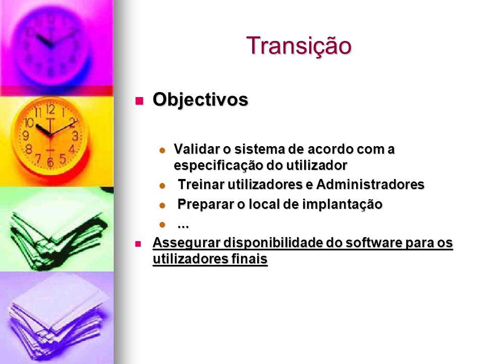 Transição Objectivos. Validar o sistema de acordo com a especificação do utilizador. Treinar utilizadores e Administradores.