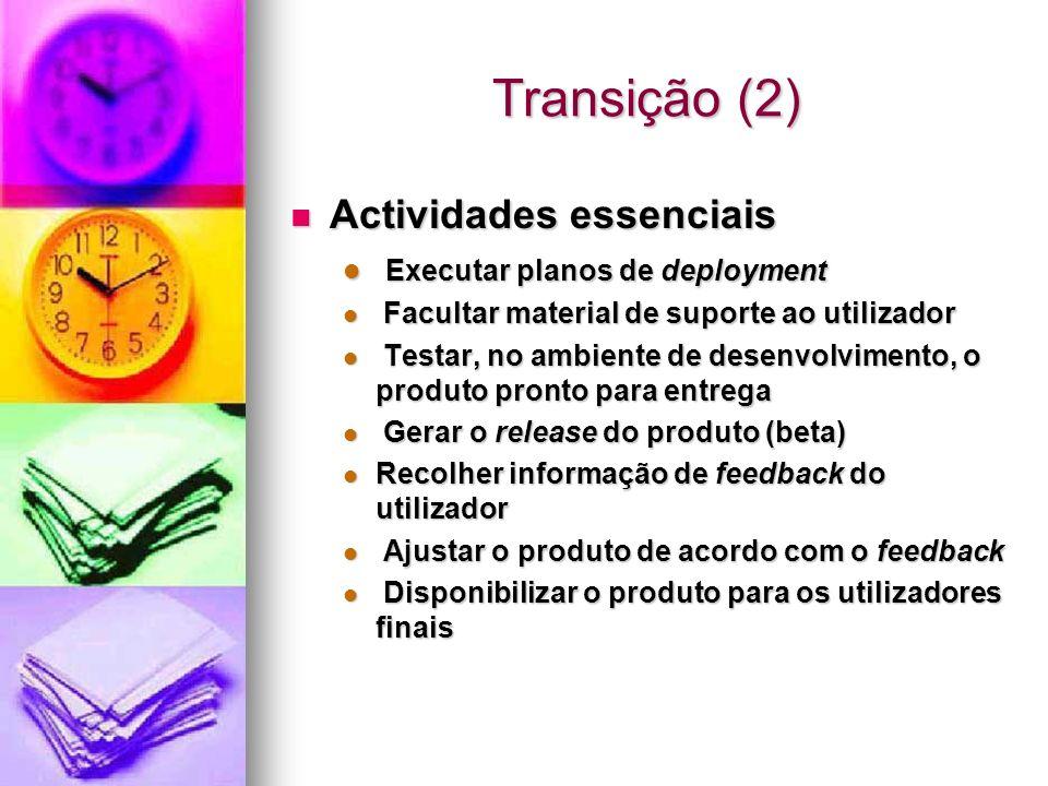 Transição (2) Actividades essenciais Executar planos de deployment