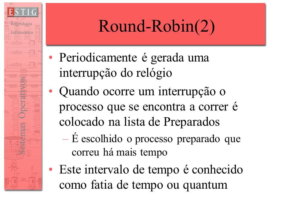 Round-Robin(2) Periodicamente é gerada uma interrupção do relógio