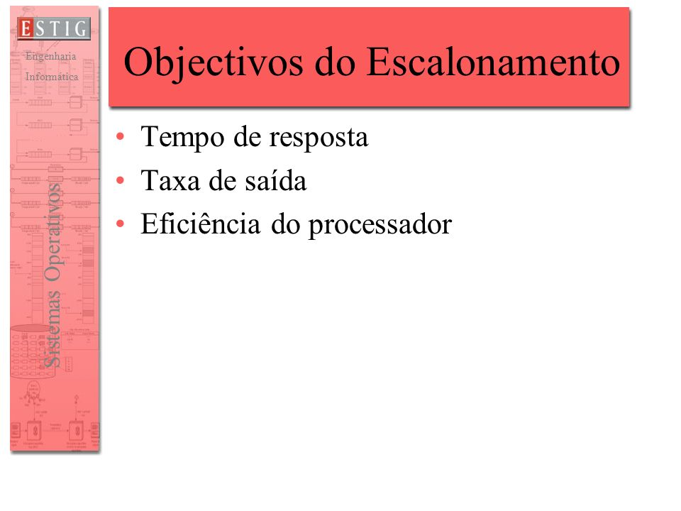Objectivos do Escalonamento