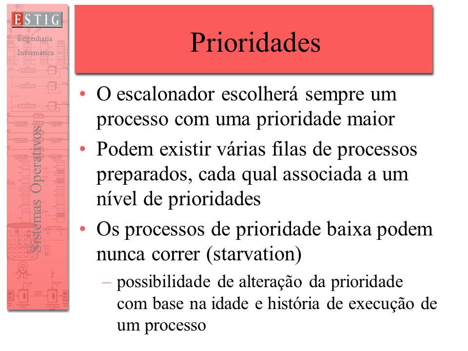 Prioridades O escalonador escolherá sempre um processo com uma prioridade maior.