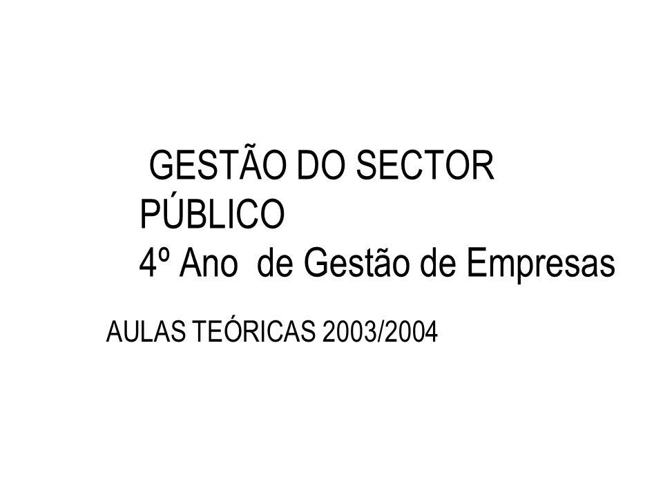 GESTÃO DO SECTOR PÚBLICO 4º Ano de Gestão de Empresas