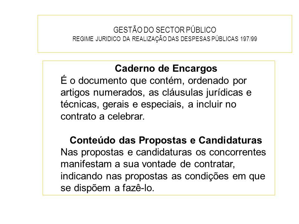 Conteúdo das Propostas e Candidaturas