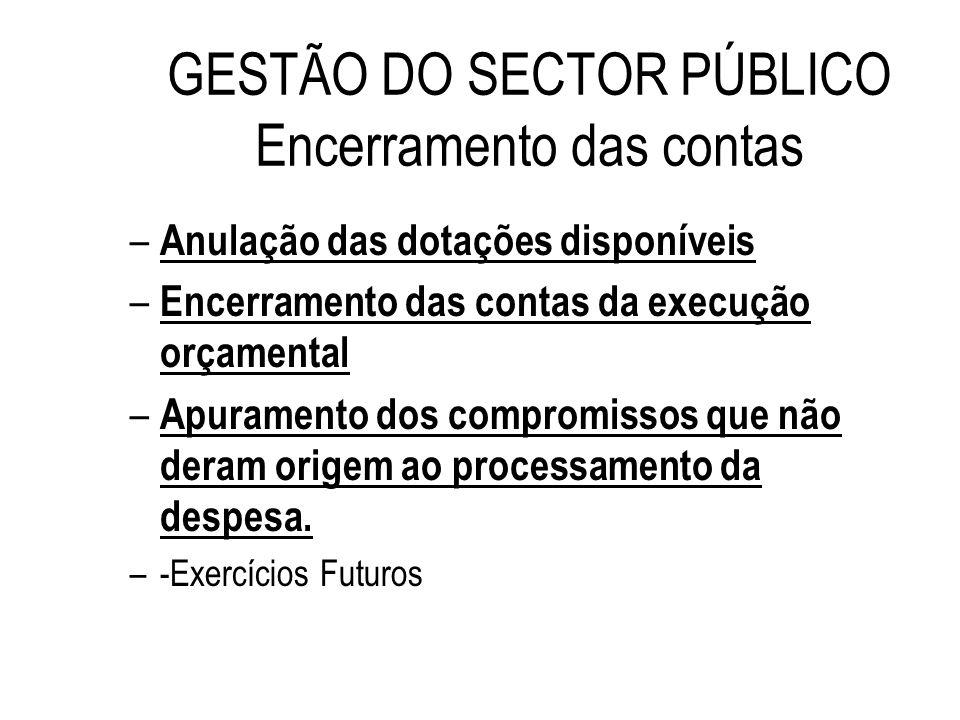 GESTÃO DO SECTOR PÚBLICO Encerramento das contas