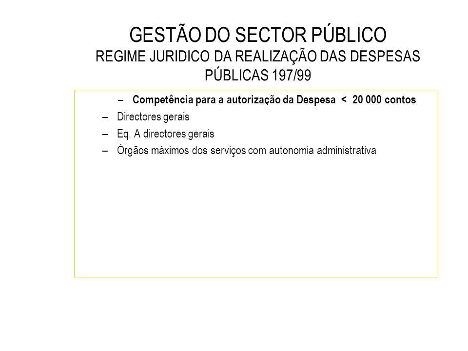 Competência para a autorização da Despesa < 20 000 contos