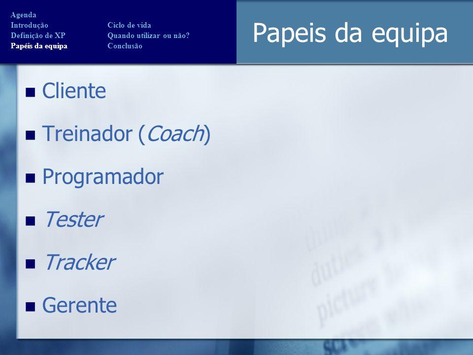 Papeis da equipa Cliente Treinador (Coach) Programador Tester Tracker