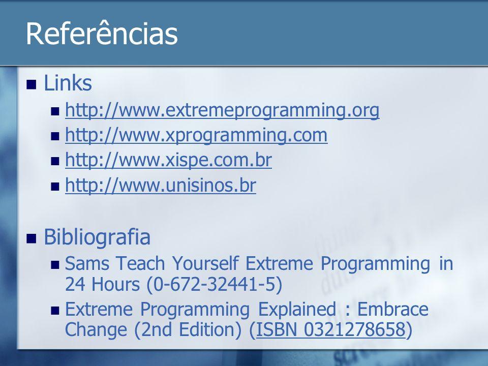 Referências Links Bibliografia http://www.extremeprogramming.org