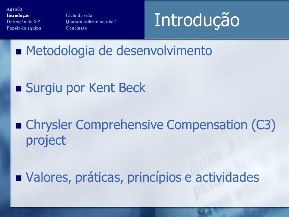 Introdução Metodologia de desenvolvimento Surgiu por Kent Beck