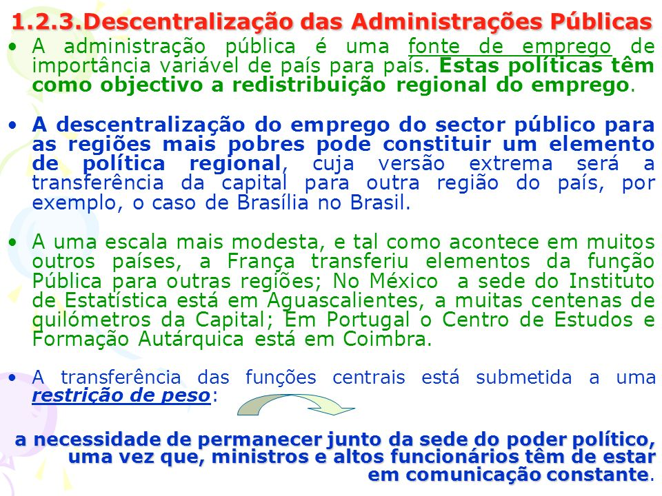 1.2.3.Descentralização das Administrações Públicas