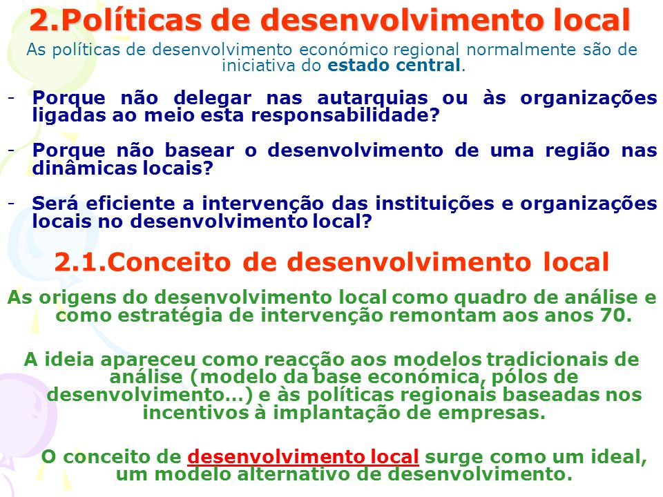 2.Políticas de desenvolvimento local