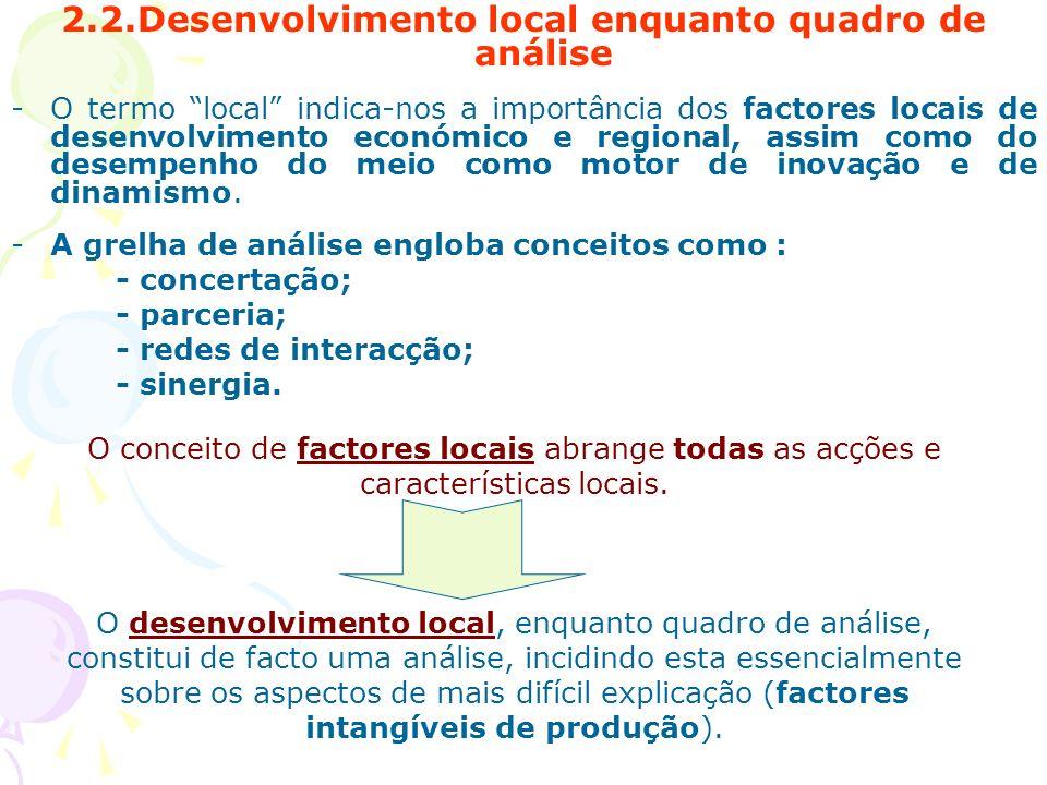 2.2.Desenvolvimento local enquanto quadro de análise