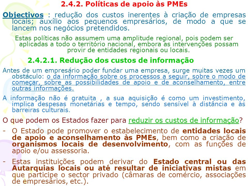 2.4.2. Políticas de apoio às PMEs
