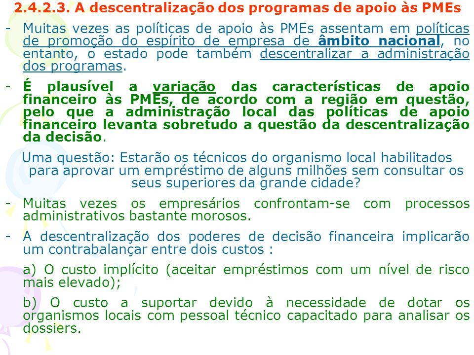 2.4.2.3. A descentralização dos programas de apoio às PMEs
