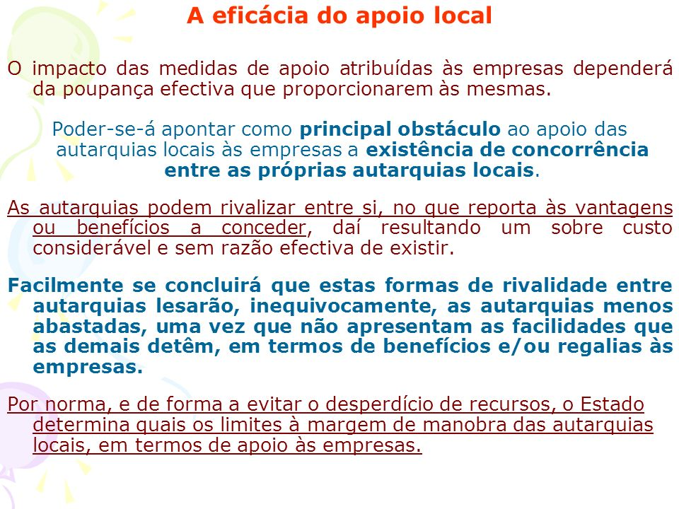 A eficácia do apoio local