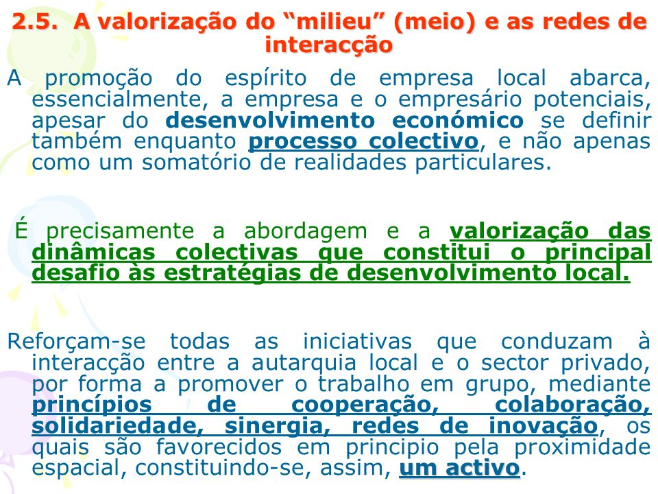 2.5. A valorização do milieu (meio) e as redes de interacção