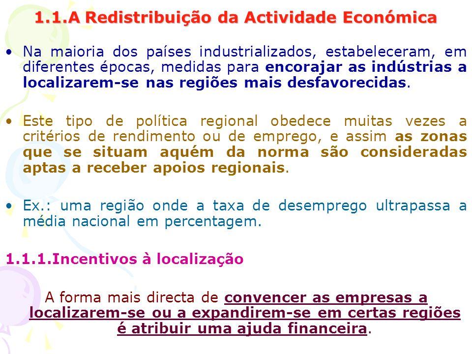 1.1.A Redistribuição da Actividade Económica