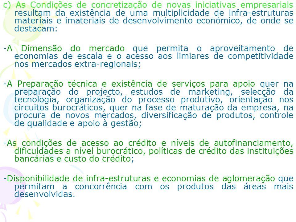 c) As Condições de concretização de novas iniciativas empresariais resultam da existência de uma multiplicidade de infra-estruturas materiais e imateriais de desenvolvimento económico, de onde se destacam: