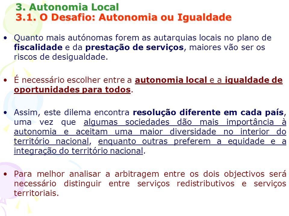 3. Autonomia Local 3.1. O Desafio: Autonomia ou Igualdade