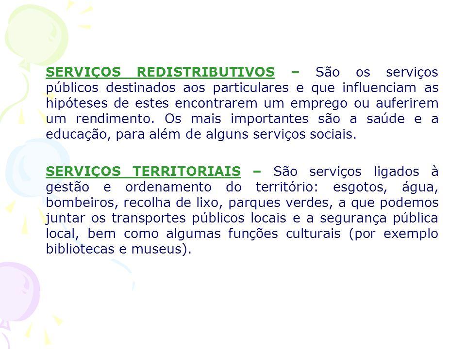 SERVIÇOS REDISTRIBUTIVOS – São os serviços públicos destinados aos particulares e que influenciam as hipóteses de estes encontrarem um emprego ou auferirem um rendimento. Os mais importantes são a saúde e a educação, para além de alguns serviços sociais.