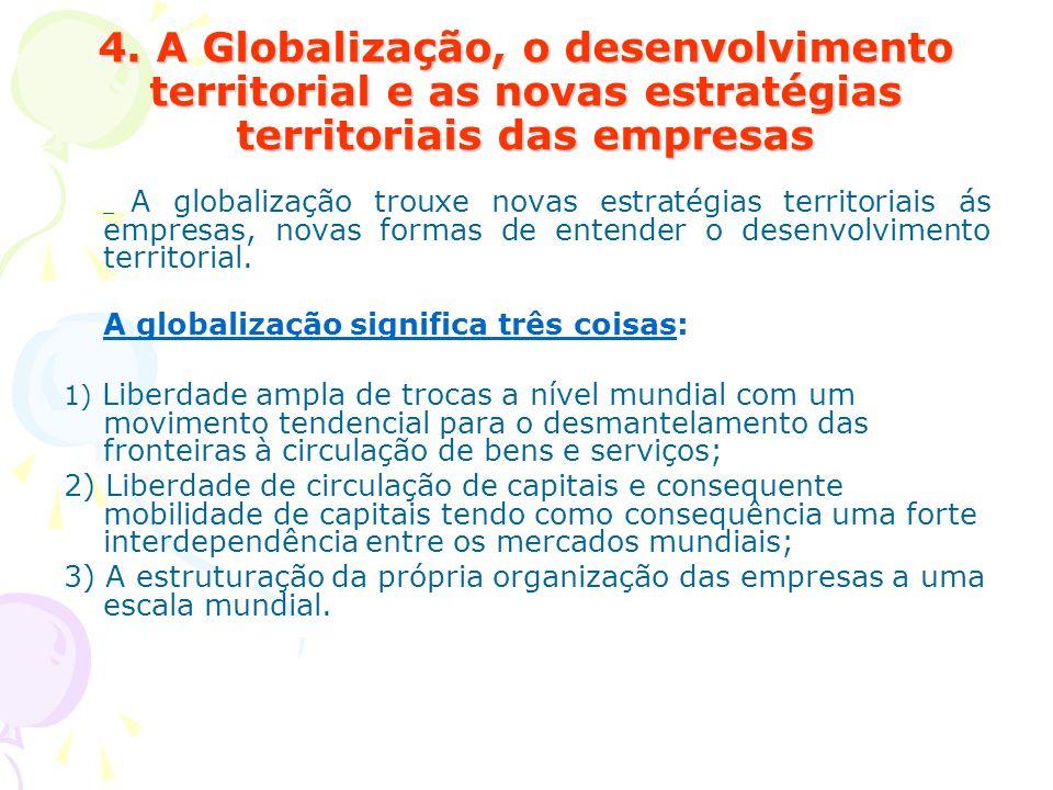 4. A Globalização, o desenvolvimento territorial e as novas estratégias territoriais das empresas