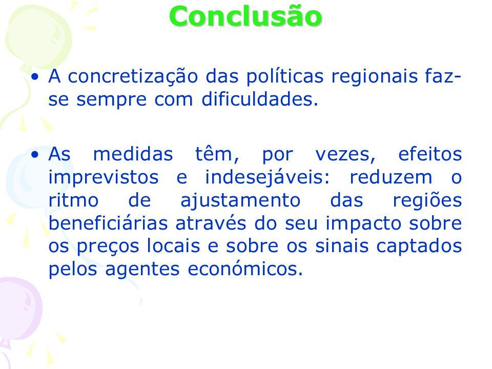 Conclusão A concretização das políticas regionais faz-se sempre com dificuldades.