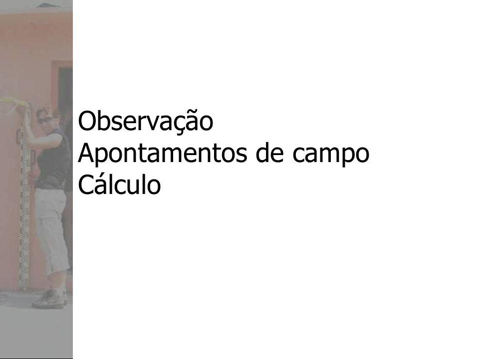 Observação Apontamentos de campo Cálculo