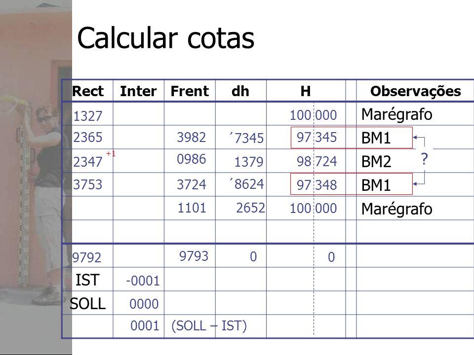 Calcular cotas Marégrafo BM1 BM2 IST SOLL Rect Inter Frent dh H