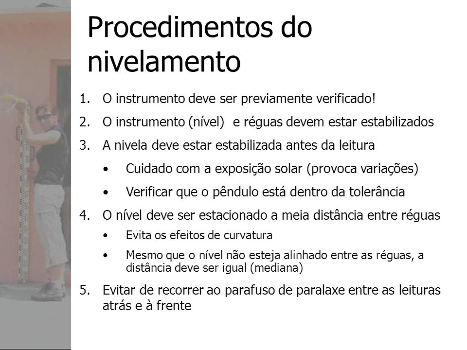 Procedimentos do nivelamento