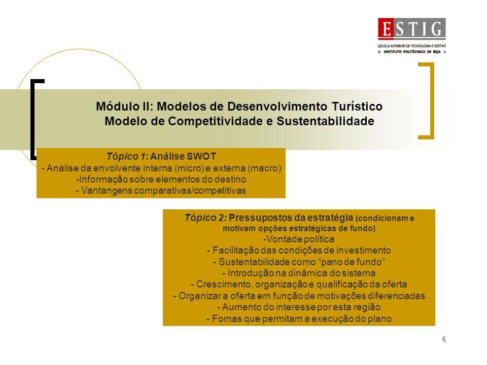 Módulo II: Modelos de Desenvolvimento Turístico Modelo de Competitividade e Sustentabilidade