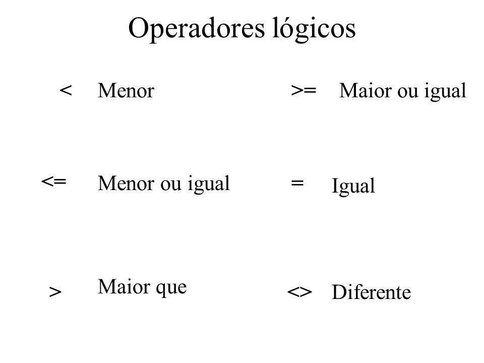 Operadores lógicos Menor < Maior ou igual >= Menor ou igual