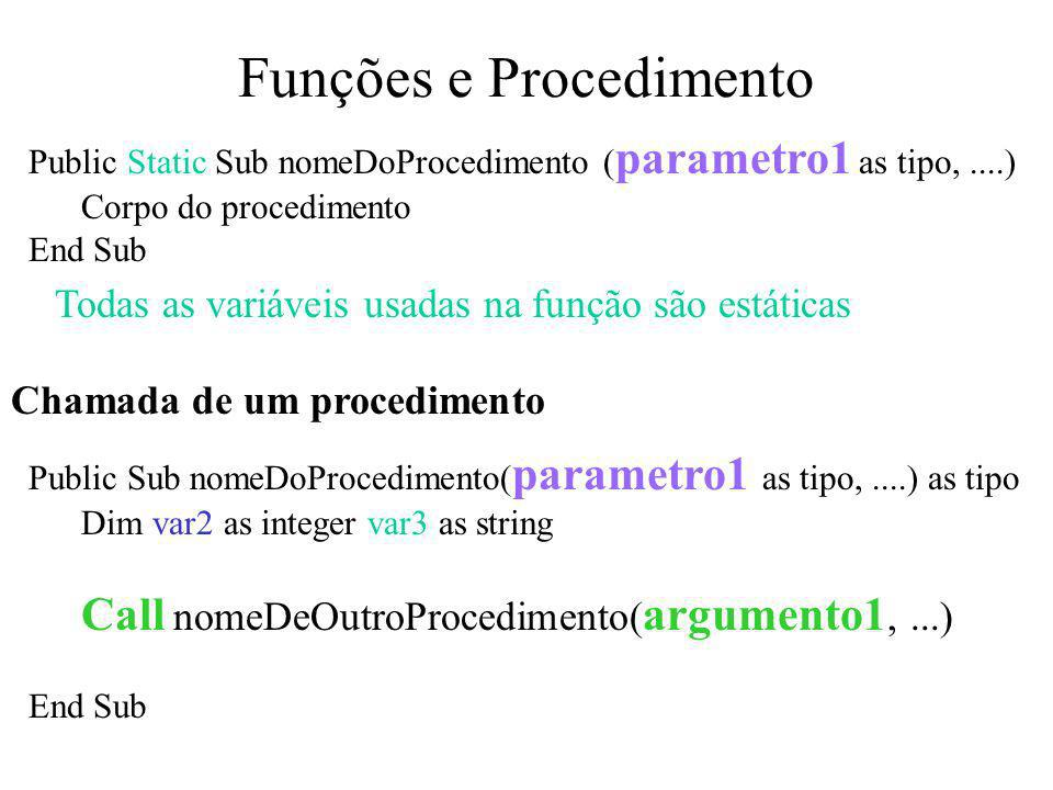 Funções e Procedimento