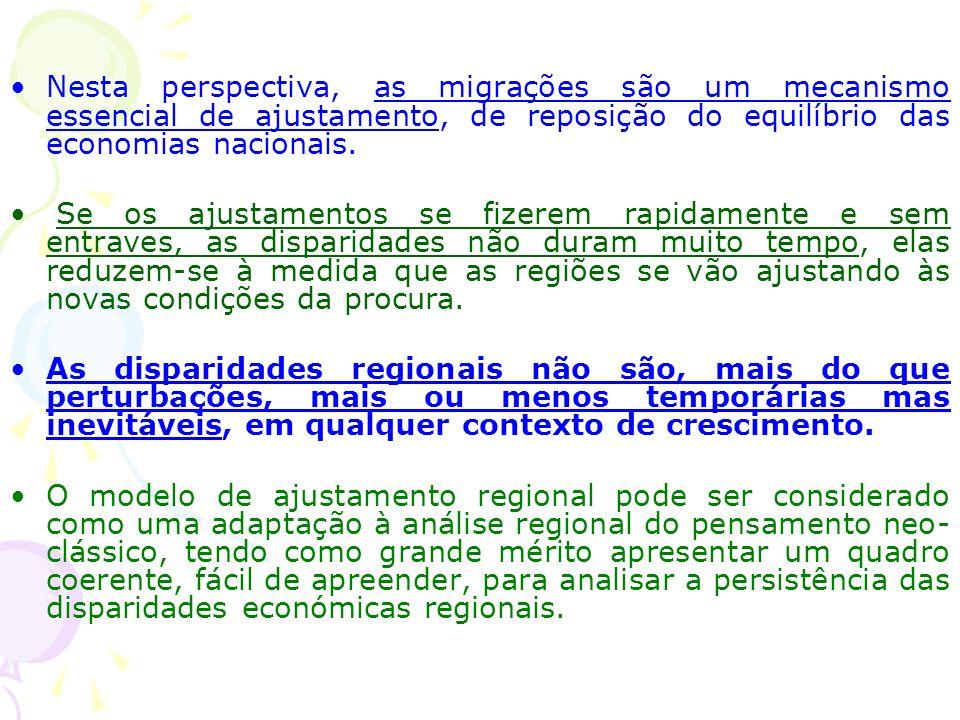 Nesta perspectiva, as migrações são um mecanismo essencial de ajustamento, de reposição do equilíbrio das economias nacionais.