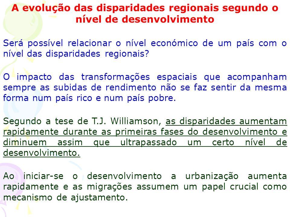 A evolução das disparidades regionais segundo o nível de desenvolvimento