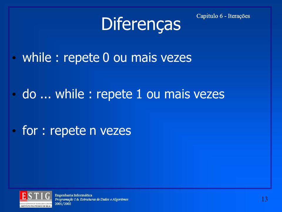 Diferenças while : repete 0 ou mais vezes