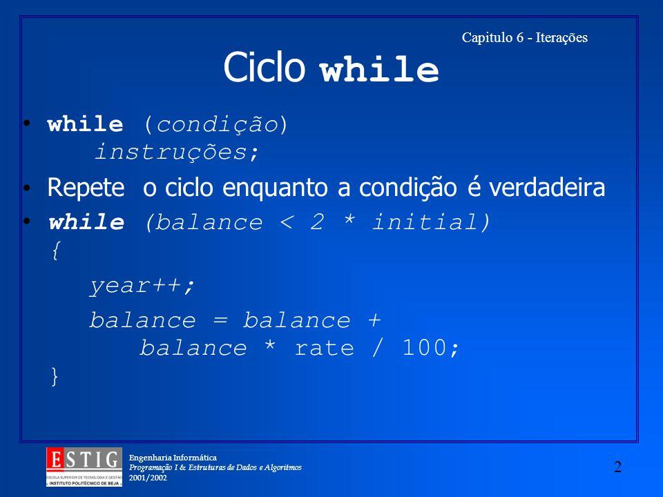 Ciclo while while (condição) instruções;