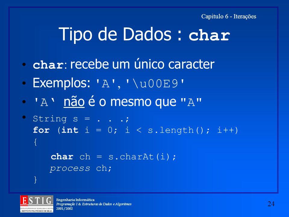 Tipo de Dados : char char: recebe um único caracter