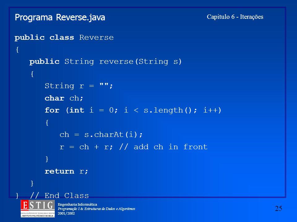 Programa Reverse.java public class Reverse {