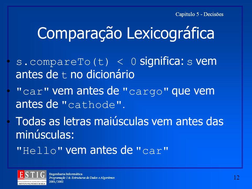 Comparação Lexicográfica