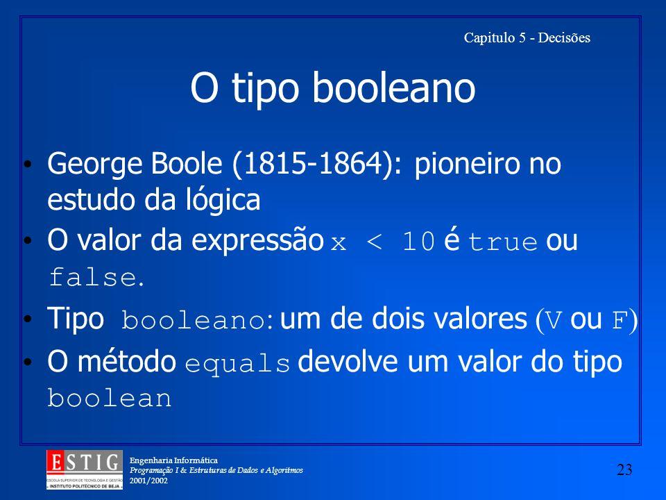 O tipo booleano George Boole (1815-1864): pioneiro no estudo da lógica