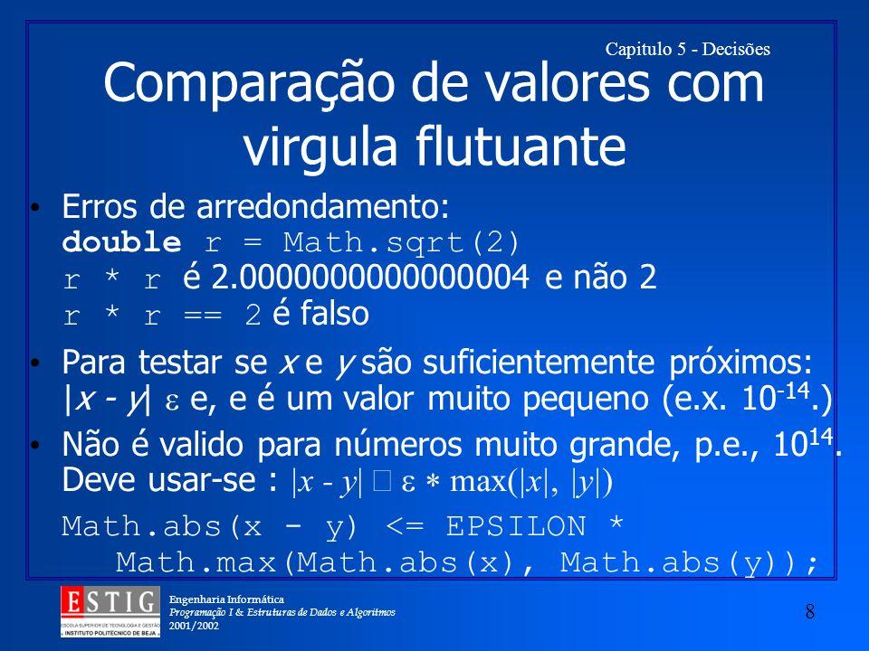 Comparação de valores com virgula flutuante