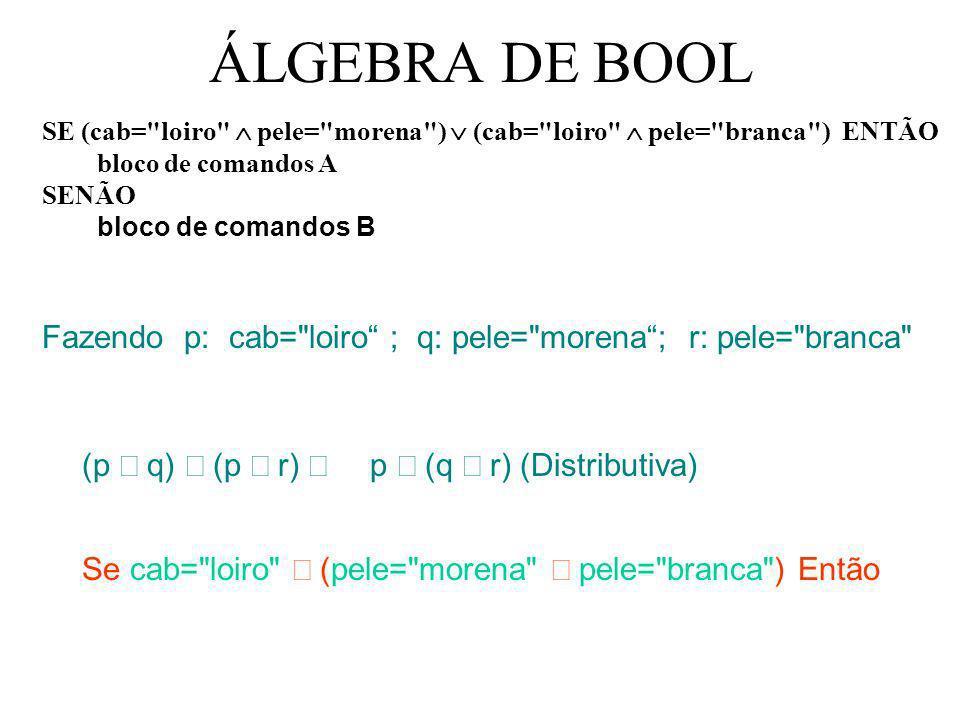 ÁLGEBRA DE BOOL SE (cab= loiro Ù pele= morena ) Ú (cab= loiro Ù pele= branca ) ENTÃO bloco de comandos A