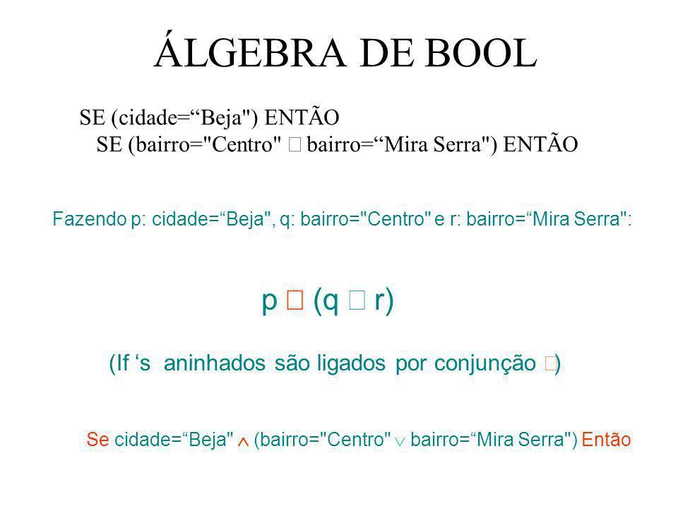 ÁLGEBRA DE BOOL p Ù (q Ú r) SE (cidade= Beja ) ENTÃO