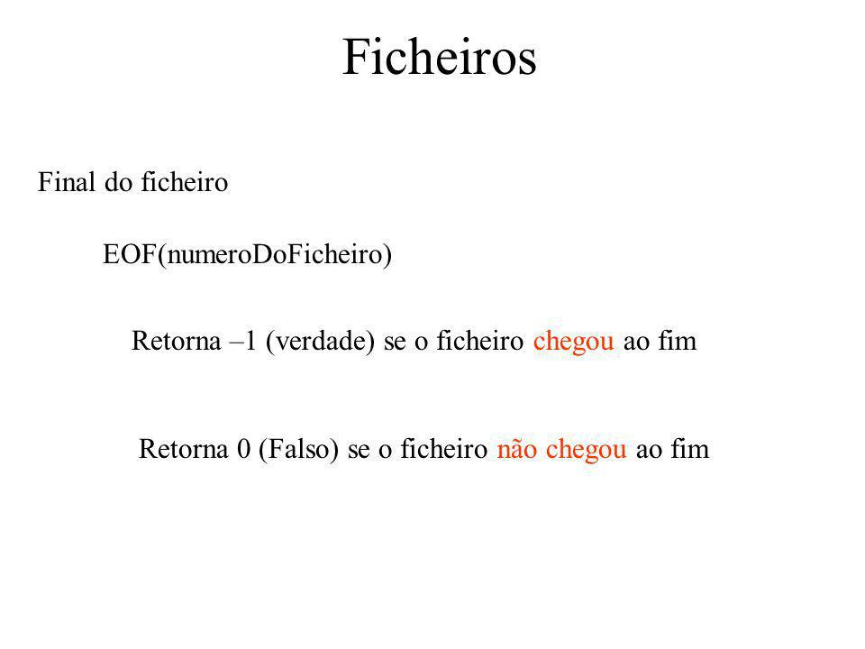 Ficheiros Final do ficheiro EOF(numeroDoFicheiro)