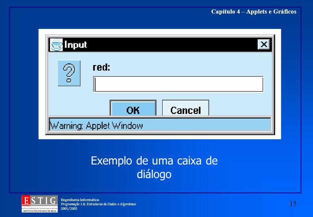 Exemplo de uma caixa de diálogo