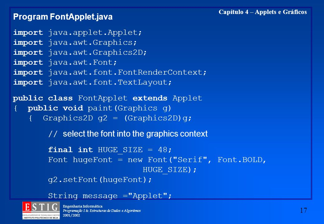Program FontApplet.java