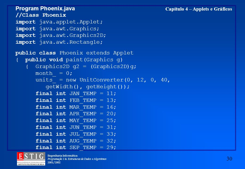 Program Phoenix.java //Class Phoenix. import java.applet.Applet; import java.awt.Graphics; import java.awt.Graphics2D;