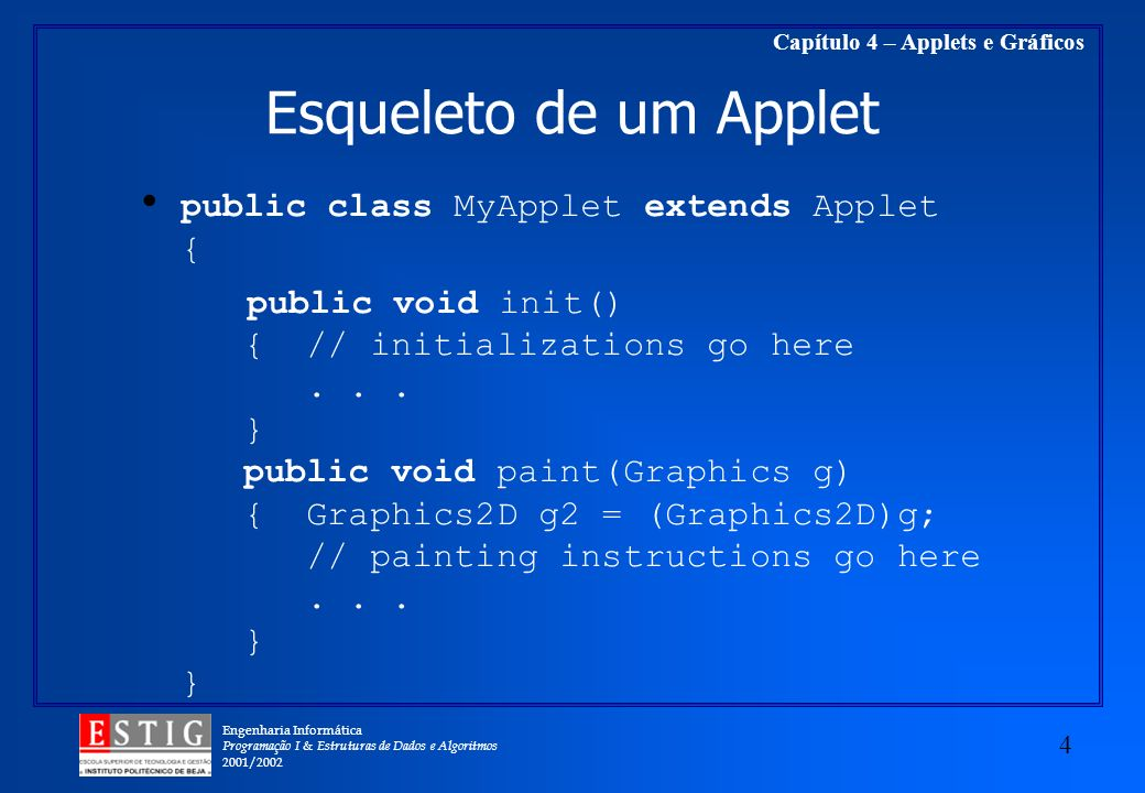 Esqueleto de um Applet public class MyApplet extends Applet {