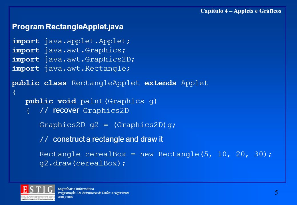 Program RectangleApplet.java