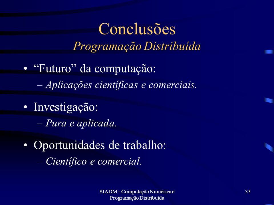 Conclusões Programação Distribuída